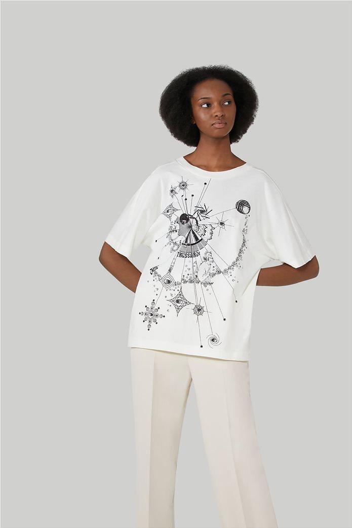 Trussardi Jeans γυναικεία κοντομάνικη μπλούζα με print 1