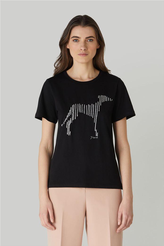 Trussardi Jeans γυναικείο T-shirt με κεντημένο σχέδιο 0