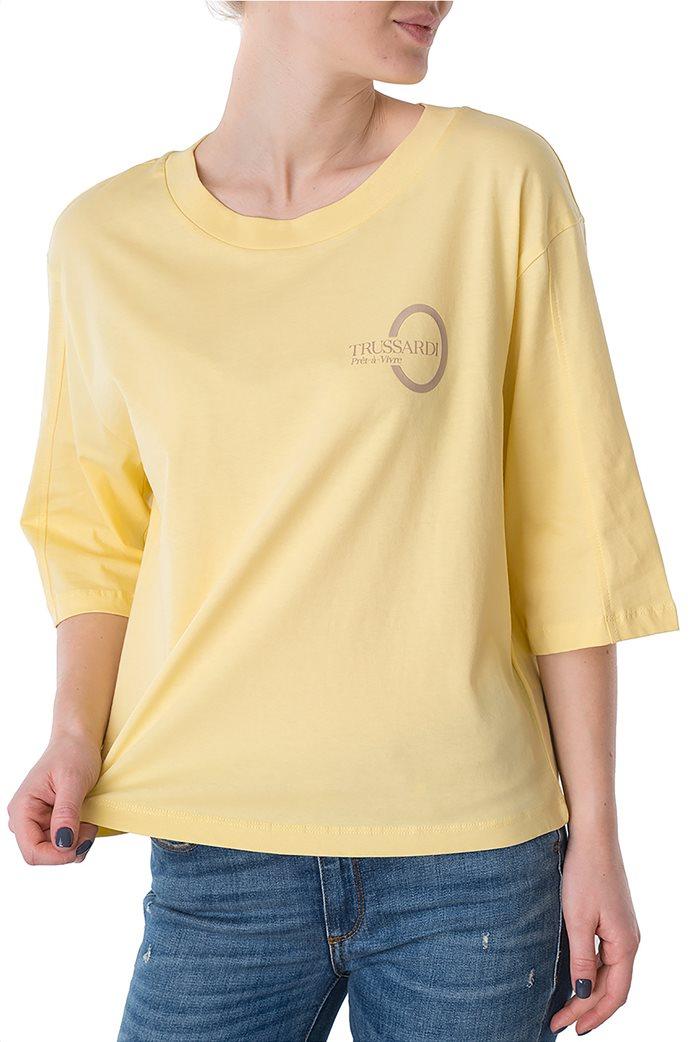 Trussardi Jeans γυναικεία μπλούζα με μανίκια 3/4 και logo print 0