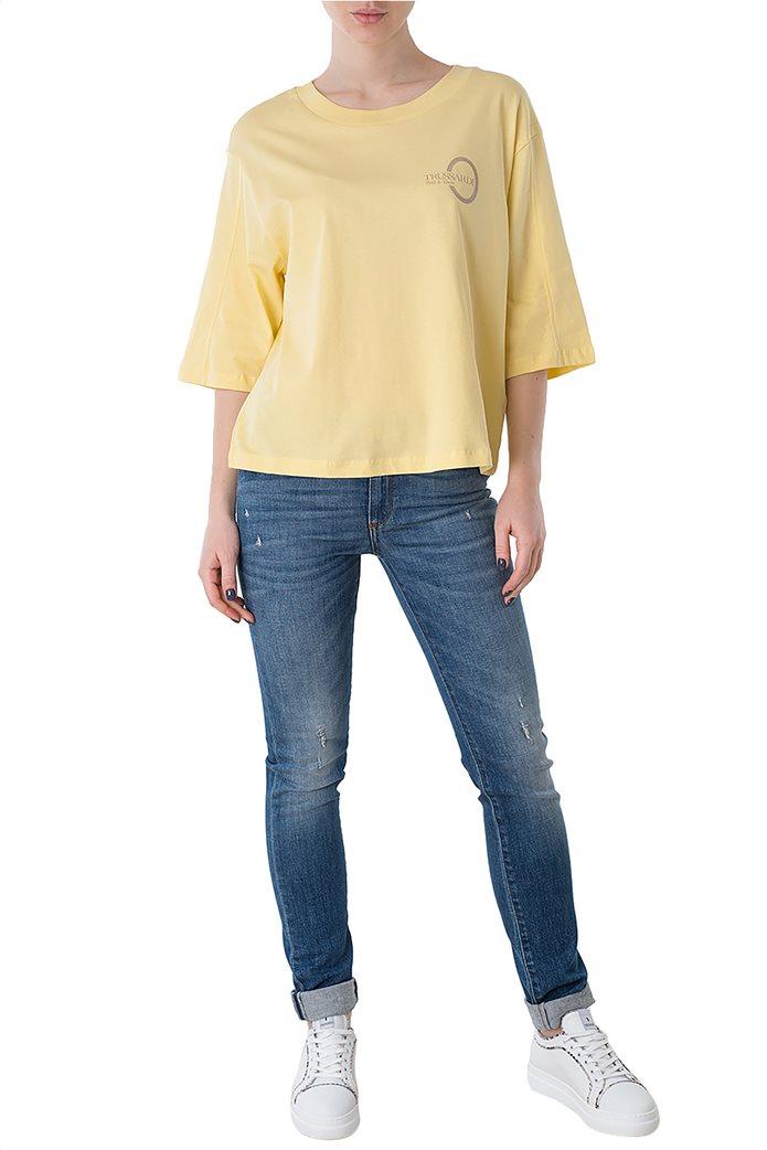 Trussardi Jeans γυναικεία μπλούζα με μανίκια 3/4 και logo print 1