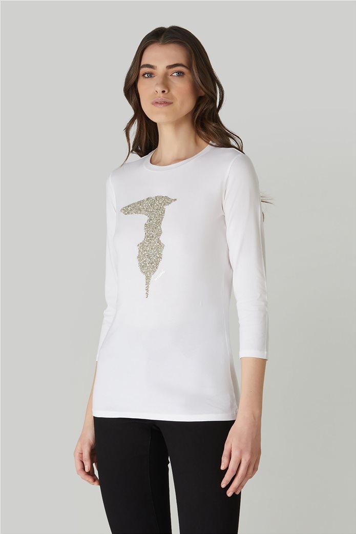 Trussardi γυναικεία μπλούζα με μανίκια 3/4 και απλικέ λογότυπο 1