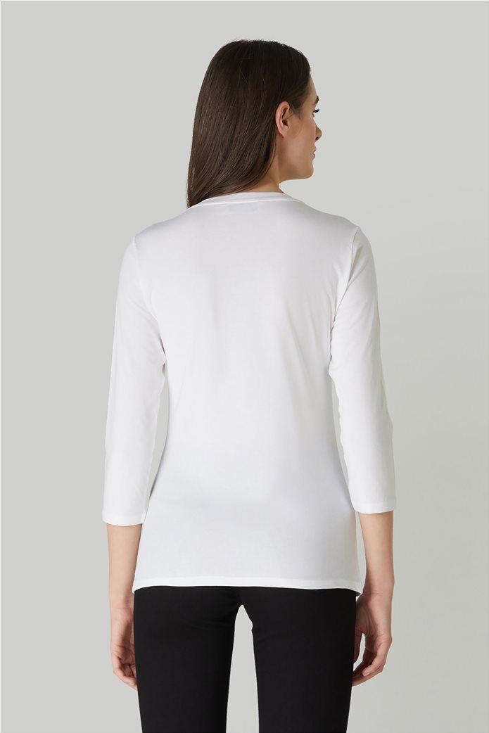 Trussardi γυναικεία μπλούζα με μανίκια 3/4 και απλικέ λογότυπο 2