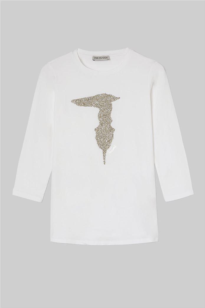 Trussardi γυναικεία μπλούζα με μανίκια 3/4 και απλικέ λογότυπο 3