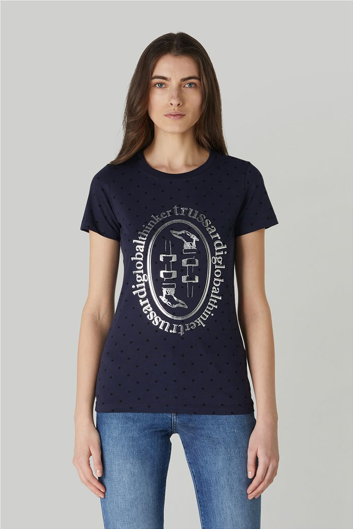Trussardi Jeans γυναικείο T-shirt πουά με μεταλλιζέ logo print 0