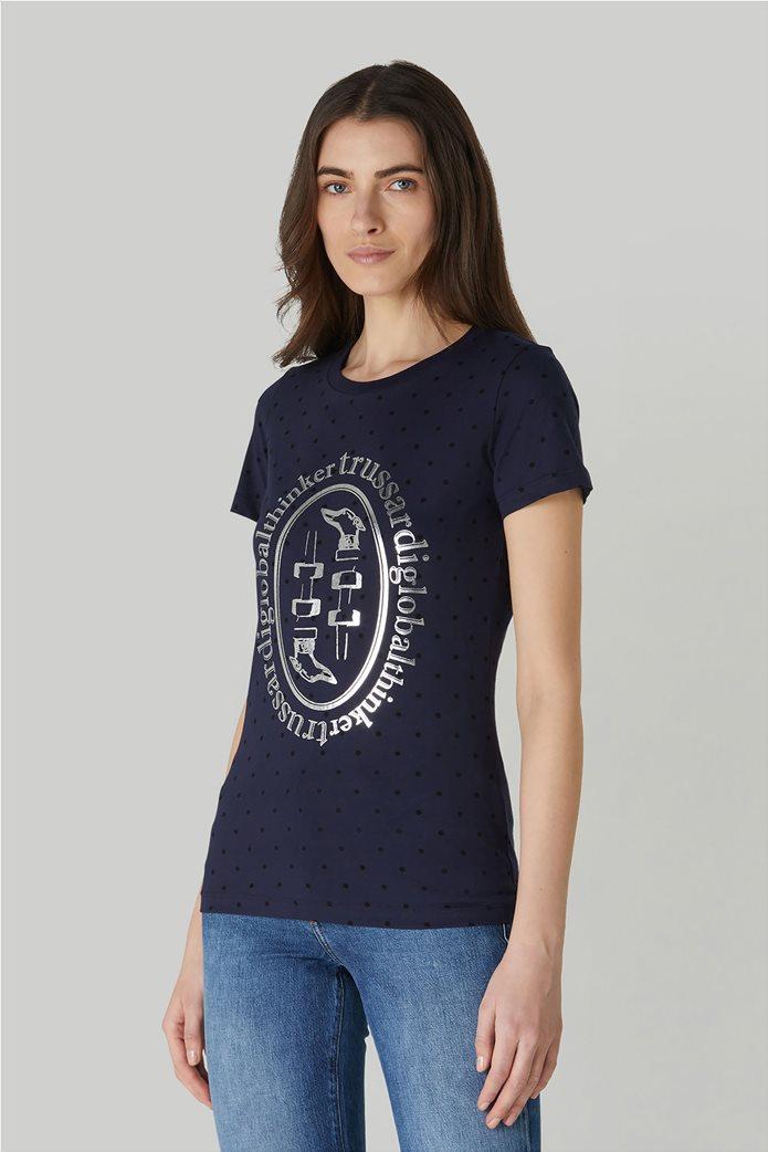 Trussardi Jeans γυναικείο T-shirt πουά με μεταλλιζέ logo print 1