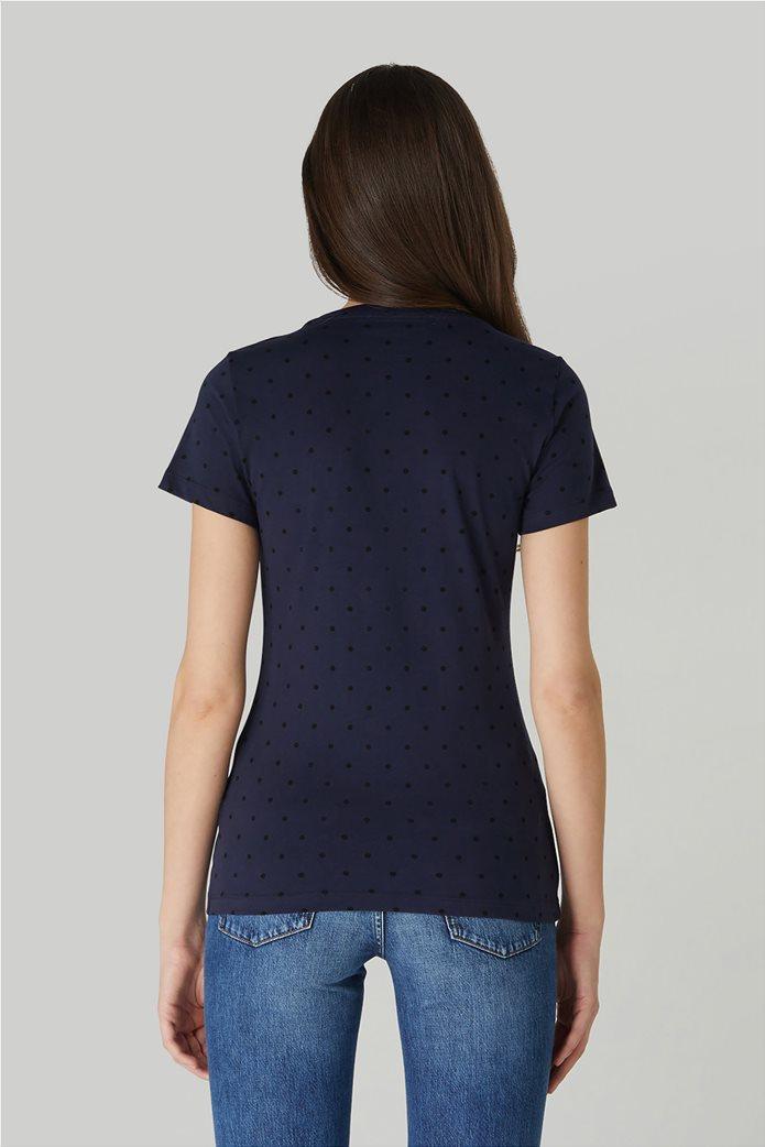 Trussardi Jeans γυναικείο T-shirt πουά με μεταλλιζέ logo print 2
