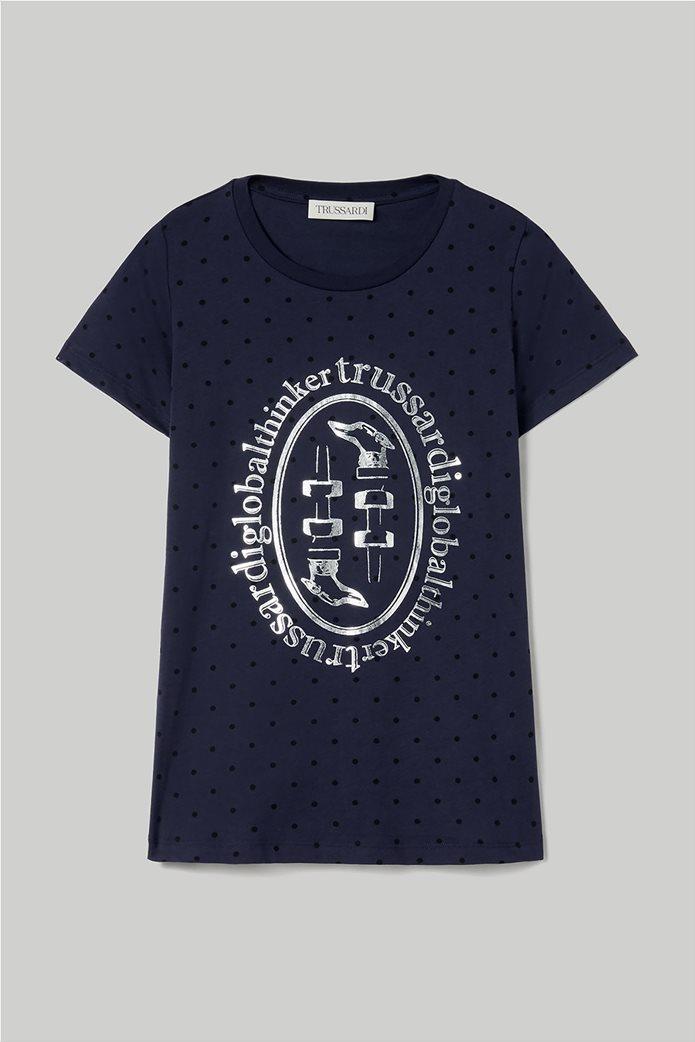 Trussardi Jeans γυναικείο T-shirt πουά με μεταλλιζέ logo print 3