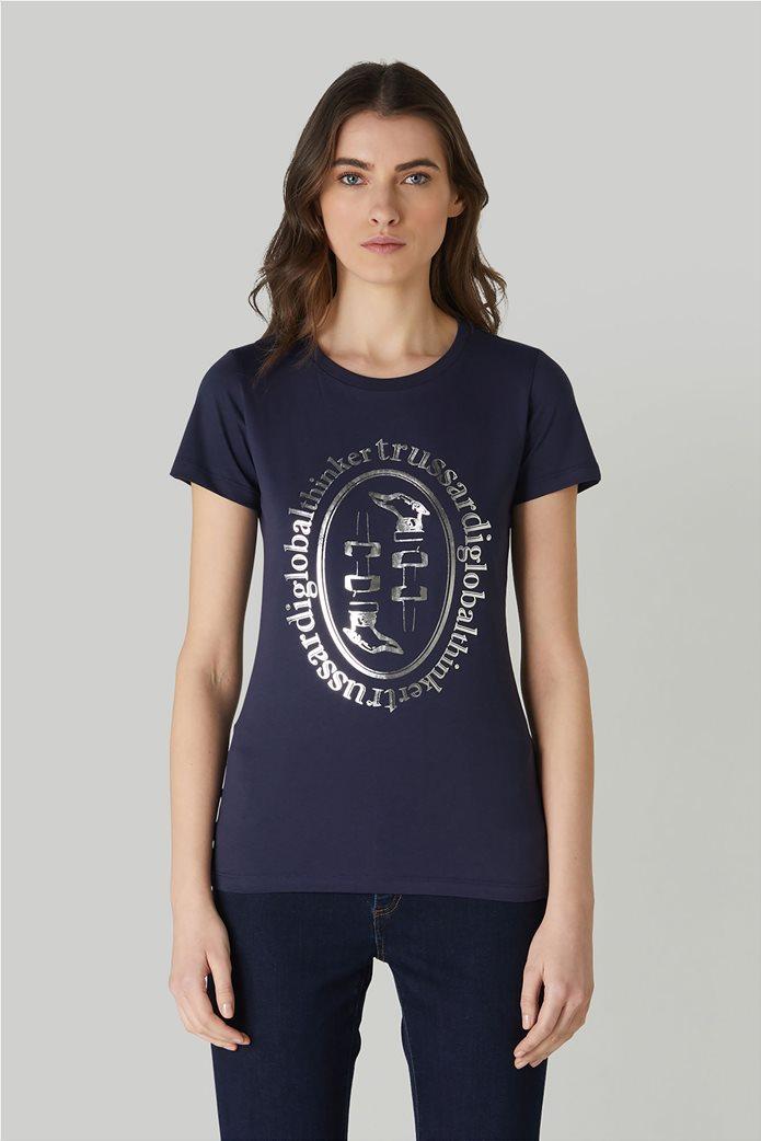 Trussardi Jeans γυναικείο T-shirt με μεταλλιζέ logo print 0