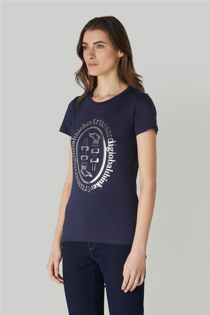 Trussardi Jeans γυναικείο T-shirt με μεταλλιζέ logo print 1