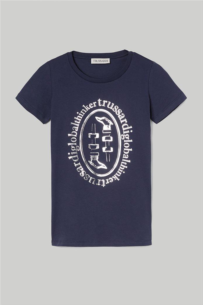 Trussardi Jeans γυναικείο T-shirt με μεταλλιζέ logo print 3
