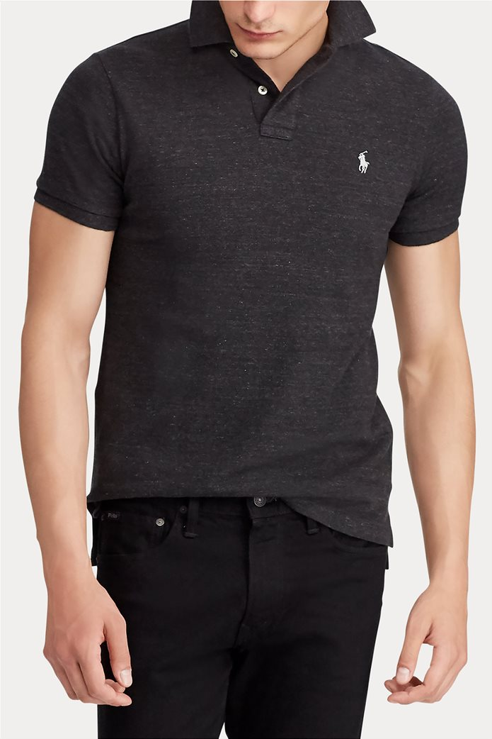 "Polo Ralph Lauren ανδρική πόλο μπλούζα με κεντημένο logo ""Slim Fit Mesh"" Ανθρακί 2"