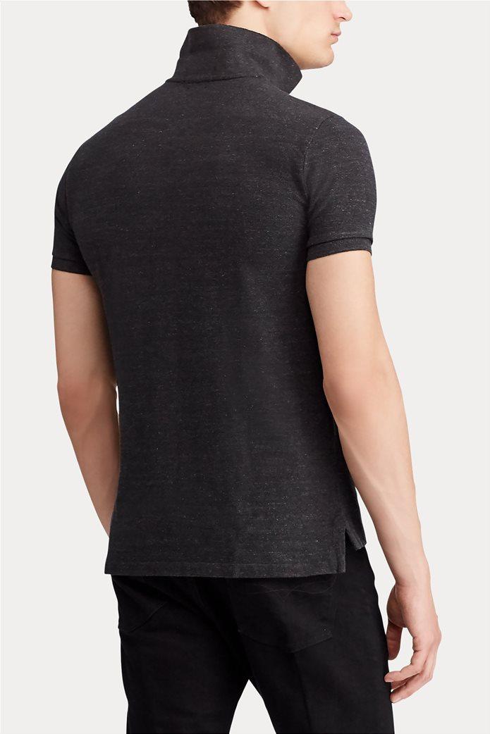 "Polo Ralph Lauren ανδρική πόλο μπλούζα με κεντημένο logo ""Slim Fit Mesh"" Ανθρακί 3"