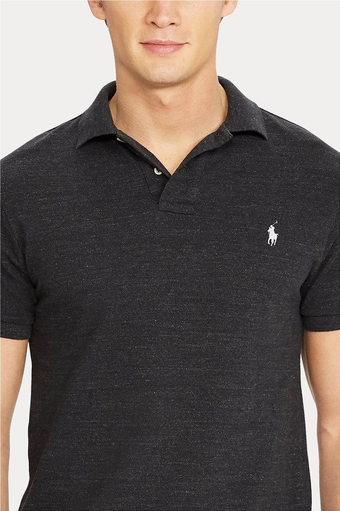 "Polo Ralph Lauren ανδρική πόλο μπλούζα με κεντημένο logo ""Slim Fit Mesh"" Ανθρακί 4"