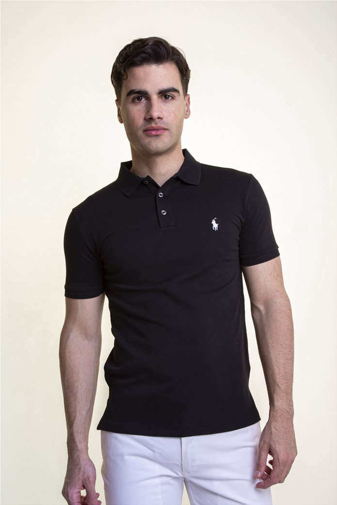 "Polo Ralph Lauren ανδρική πόλο μπλούζα πικέ με κεντημένο logo ""Slim Fit Stretch Mesh"" Μαύρο 0"