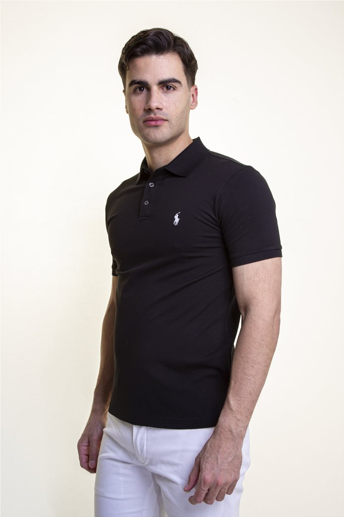 "Polo Ralph Lauren ανδρική πόλο μπλούζα πικέ με κεντημένο logo ""Slim Fit Stretch Mesh"" Μαύρο 1"