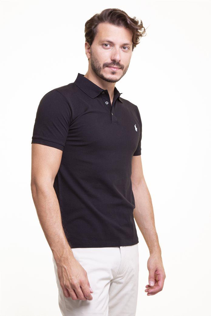 "Polo Ralph Lauren ανδρική πόλο μπλούζα πικέ με κεντημένο logo ""Slim Fit Stretch Mesh"" Μαύρο 2"