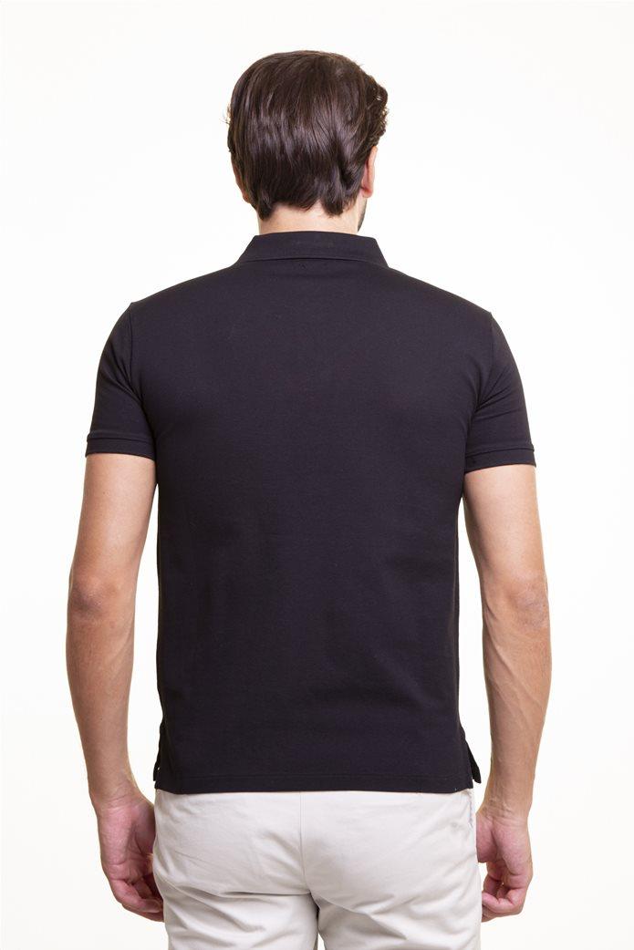 "Polo Ralph Lauren ανδρική πόλο μπλούζα πικέ με κεντημένο logo ""Slim Fit Stretch Mesh"" Μαύρο 3"