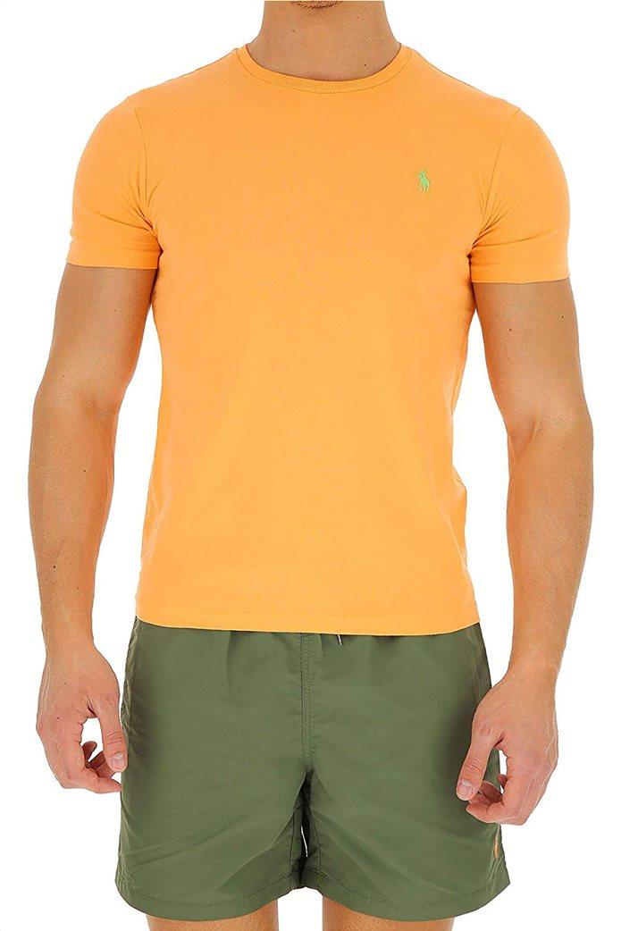Polo Ralph Lauren ανδρικό μονόχρωμο T-shirt Custom Slim Πορτοκαλί 0