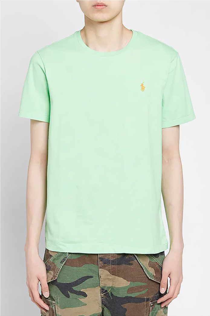 Polo Ralph Lauren ανδρικό μονόχρωμο T-shirt Custom Slim Fit Πράσινο Ανοιχτό 0