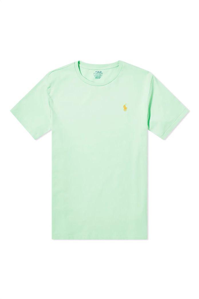Polo Ralph Lauren ανδρικό μονόχρωμο T-shirt Custom Slim Fit Πράσινο Ανοιχτό 3