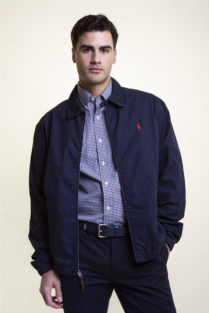 Polo Ralph Lauren ανδρικό bomber μπουφάν με κεντημένο logo Μπλε Σκούρο 1