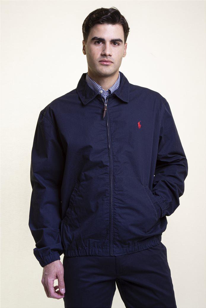 Polo Ralph Lauren ανδρικό bomber μπουφάν με κεντημένο logo Μπλε Σκούρο 2