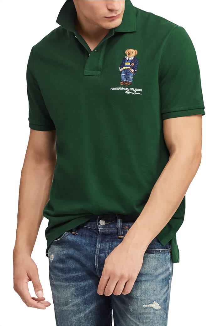 Polo Ralph Lauren ανδρική μπλούζα πόλο Custom Slim Fit Bear 3