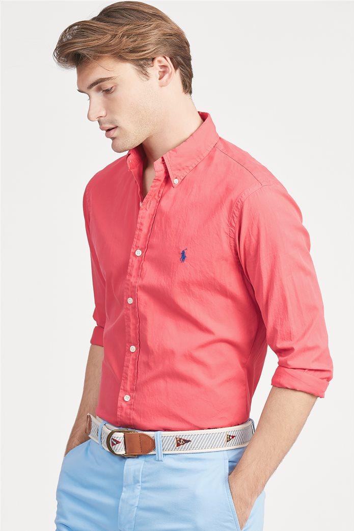 2a2003f7de5 POLO RALPH LAUREN   Polo Ralph Lauren ανδρικό πουκάμισο με τσαλακωμένη όψη  Slim Fit Twill Κοραλί   notos