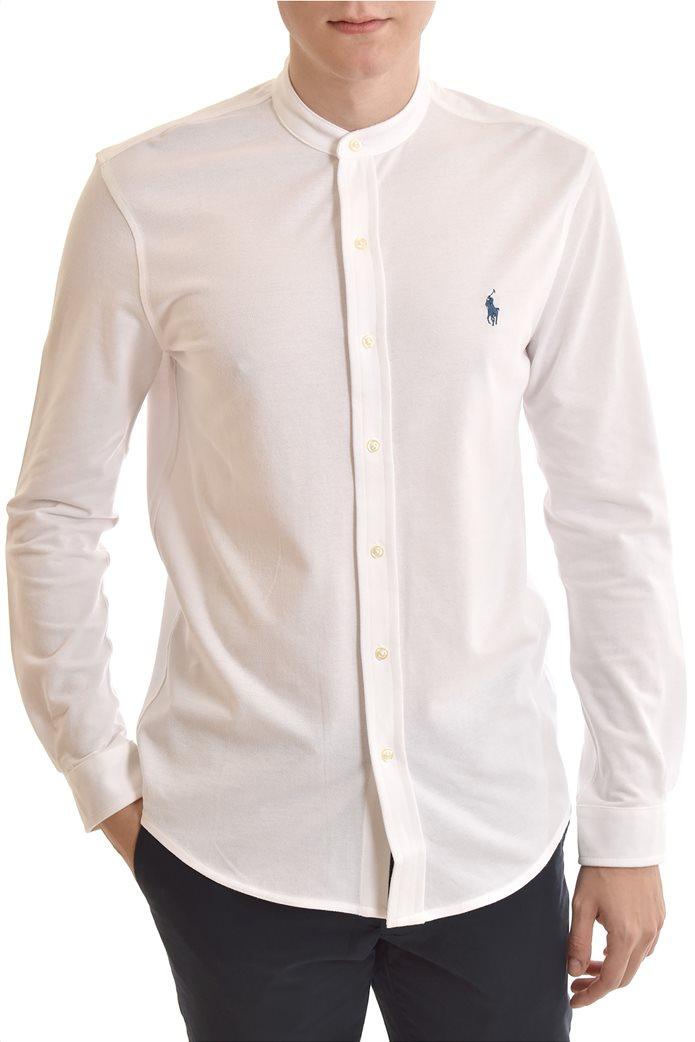 "Polo Ralph Lauren ανδρικό πουκάμισο με μάο γιακά και κεντημένο logo ""Featherweight Mesh"" Λευκό 0"