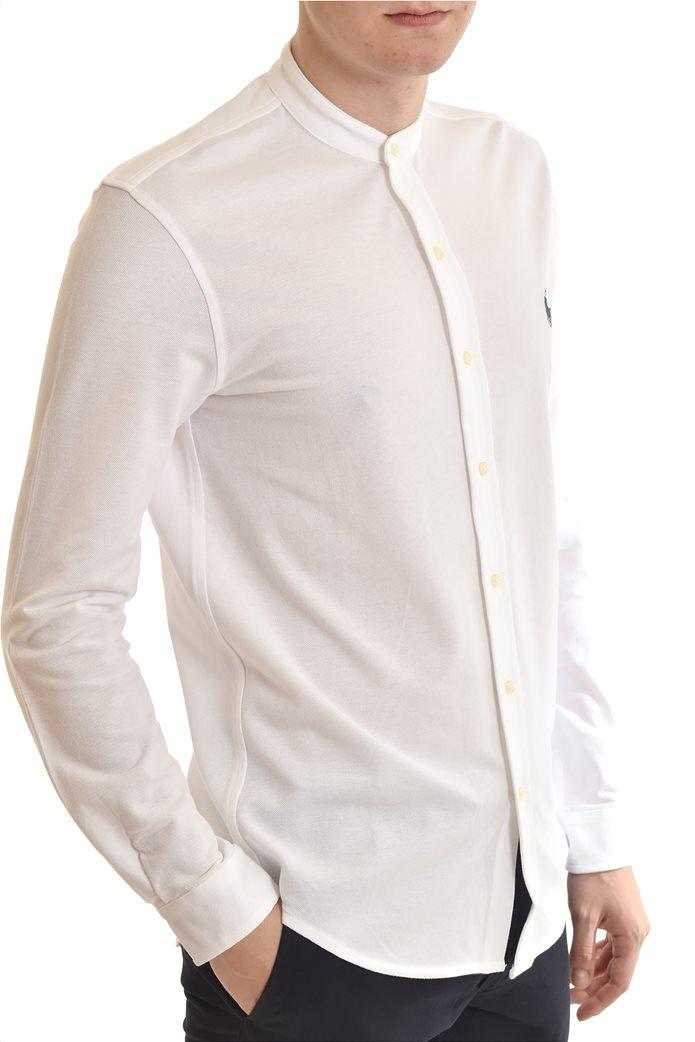 "Polo Ralph Lauren ανδρικό πουκάμισο με μάο γιακά και κεντημένο logo ""Featherweight Mesh"" Λευκό 1"