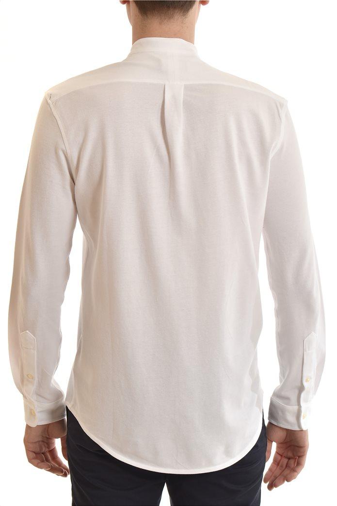 "Polo Ralph Lauren ανδρικό πουκάμισο με μάο γιακά και κεντημένο logo ""Featherweight Mesh"" Λευκό 2"