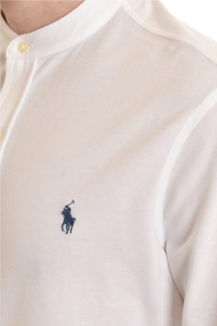 "Polo Ralph Lauren ανδρικό πουκάμισο με μάο γιακά και κεντημένο logo ""Featherweight Mesh"" Λευκό 3"