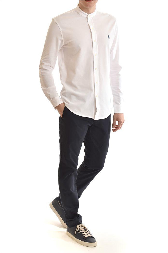"Polo Ralph Lauren ανδρικό πουκάμισο με μάο γιακά και κεντημένο logo ""Featherweight Mesh"" Λευκό 4"