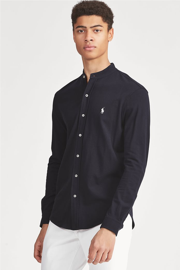 "Polo Ralph Lauren ανδρικό πουκάμισο με μάο γιακά και κεντημένο logo ""Custom Slim Fit Mesh"" 0"