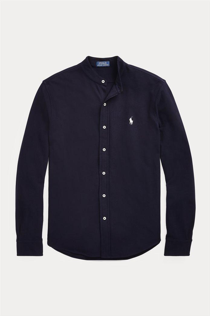"Polo Ralph Lauren ανδρικό πουκάμισο με μάο γιακά και κεντημένο logo ""Custom Slim Fit Mesh"" 1"