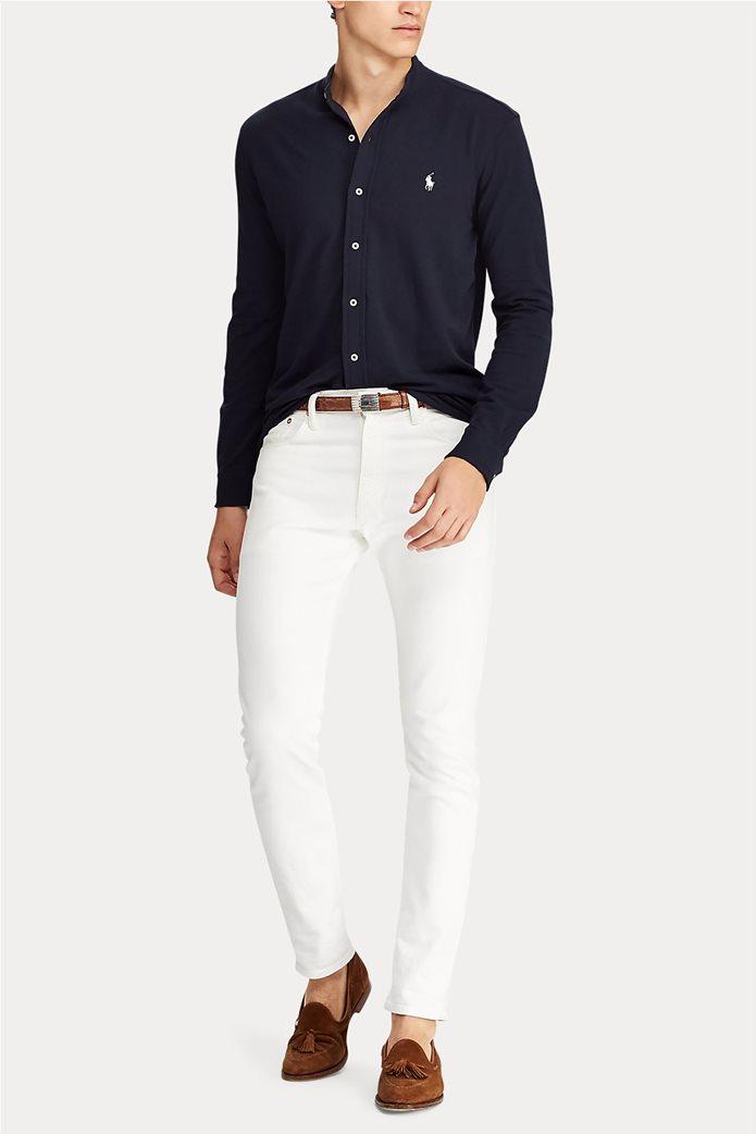"Polo Ralph Lauren ανδρικό πουκάμισο με μάο γιακά και κεντημένο logo ""Custom Slim Fit Mesh"" 2"