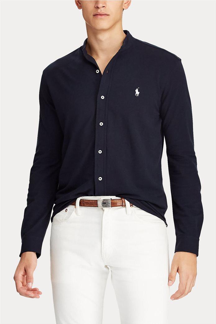 "Polo Ralph Lauren ανδρικό πουκάμισο με μάο γιακά και κεντημένο logo ""Custom Slim Fit Mesh"" 3"