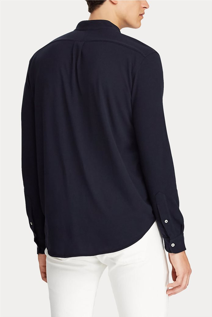 "Polo Ralph Lauren ανδρικό πουκάμισο με μάο γιακά και κεντημένο logo ""Custom Slim Fit Mesh"" 4"