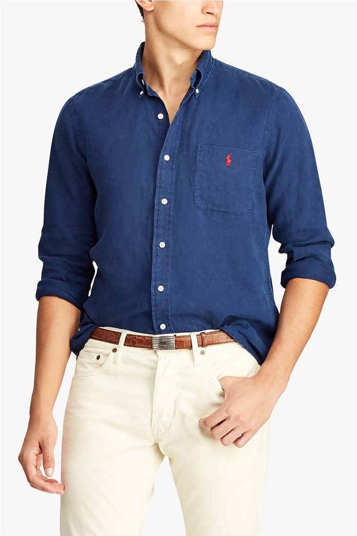 18636fd3ea62 POLO RALPH LAUREN | Polo Ralph Lauren ανδρικό πουκάμισο λινό Classic Fit  Μπλε Σκούρο | notos