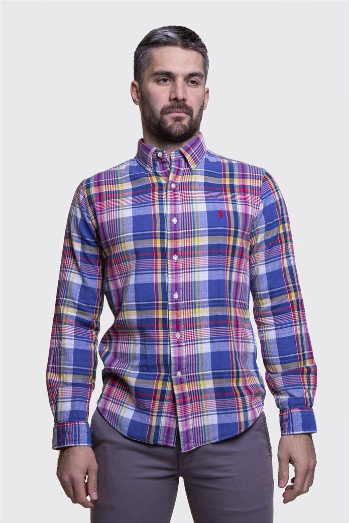 Polo Ralph Lauren ανδρικό καρό πουκάμισο Slim fit Μπλε 0