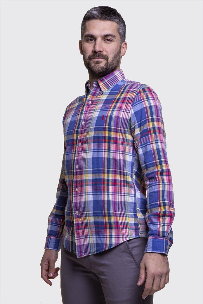 Polo Ralph Lauren ανδρικό καρό πουκάμισο Slim fit Μπλε 1