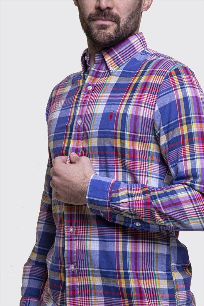 Polo Ralph Lauren ανδρικό καρό πουκάμισο Slim fit Μπλε 2