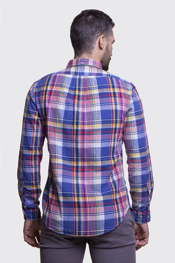 Polo Ralph Lauren ανδρικό καρό πουκάμισο Slim fit Μπλε 3
