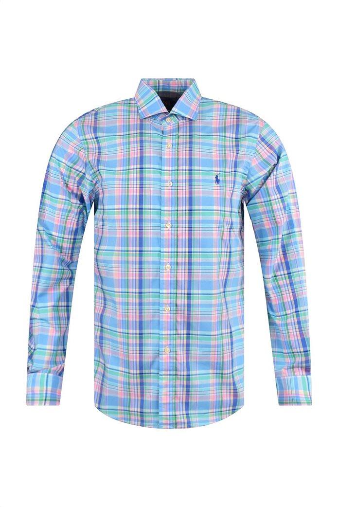 Polo Ralph Lauren ανδρικό καρό πουκάμισο Slim Fit Γαλάζιο 0