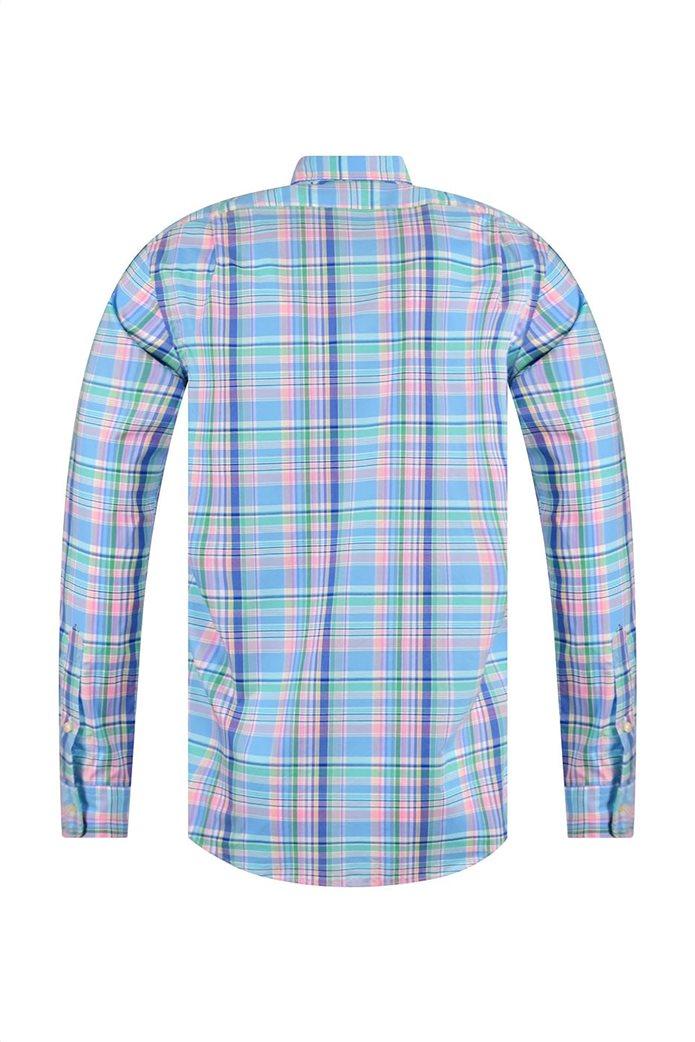 Polo Ralph Lauren ανδρικό καρό πουκάμισο Slim Fit Γαλάζιο 1