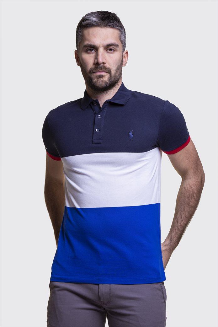 Polo Ralph Lauren ανδρική πόλο μπλούζα colourblocked Πολύχρωμο 0