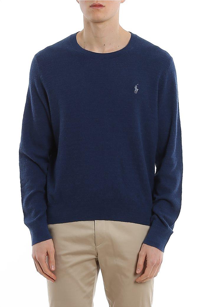 Polo Ralph Lauren ανδρική πλεκτή μπλούζα με κεντημένο logo Μπλε 0