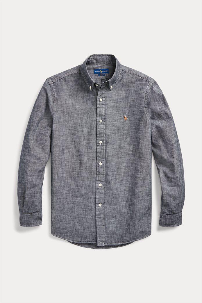 "Polo Ralph Lauren ανδρικό πουκάμισο με κεντημένο logo ""Slim Fit Chambray"" 4"