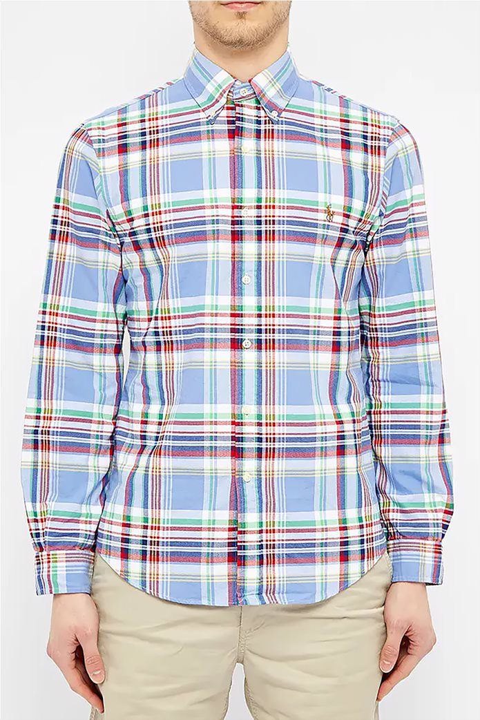 Polo Ralph Lauren ανδρικό καρό πουκάμισο με κεντημένο logo Γαλάζιο 0