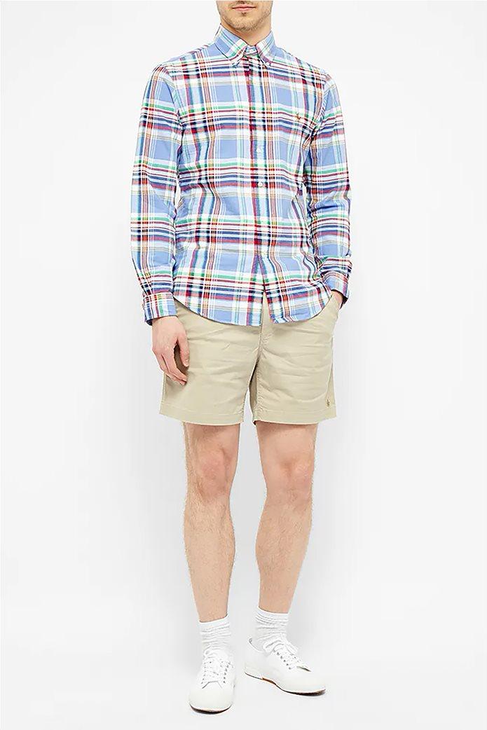 Polo Ralph Lauren ανδρικό καρό πουκάμισο με κεντημένο logo Γαλάζιο 1